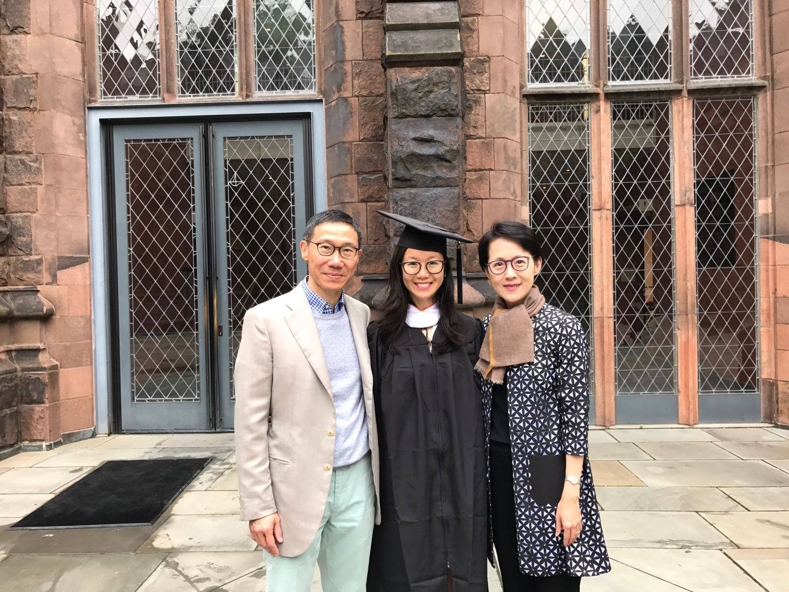 Jin Yun Chow with her family at Princeton University.